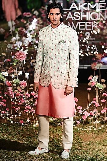 Sage Green Printed Bandi Jacket With Pink Kurta & Pants by Anita Dongre Men