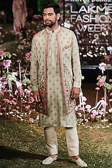 Sage Green Printed Bandi Jacket With Kurta & Pants by Anita Dongre Men