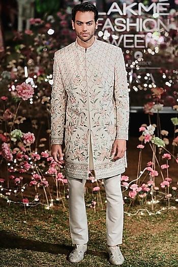Off White Embroidered Sherwani Set by Anita Dongre Men