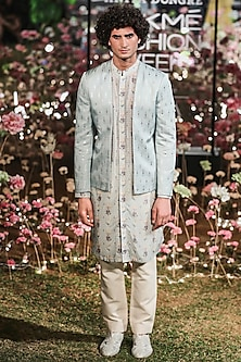 Blue Printed Bandhgala Jacket With Kurta & Trouser Pants by Anita Dongre Men