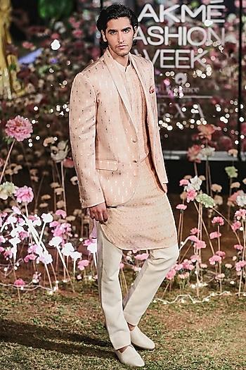 Blush Pink Printed Bandhgala Jacket With Kurta & Trouser Pants by Anita Dongre Men