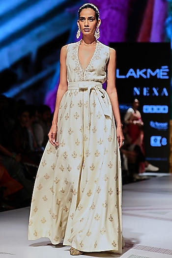 White Embroidered Sleeveless Long Jacket With Pants by Anita Dongre