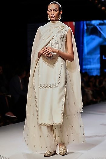 White Embroidered Sharara Set by Anita Dongre