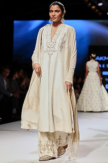 White Embroidered Matka Silk Jacket Kurta With Pants by Anita Dongre