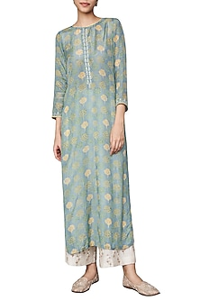 Sea Blue Hand Block Printed Embellished Kurta by Anita Dongre