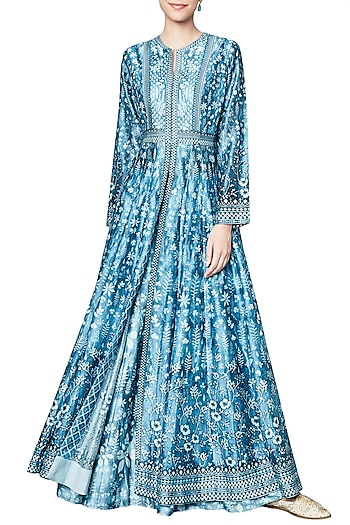 Blue Digitally Printed Jacket with Sharara Set by Anita Dongre