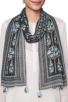 Black and White Digital Printed Scarf by Anita Dongre