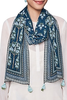 Blue Digital Printed Scarf by Anita Dongre