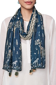 Navy Blue Digital Printed Scarf by Anita Dongre