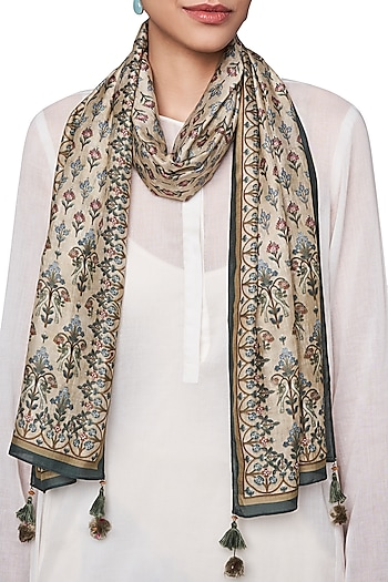 Beige Digital Printed Scarf by Anita Dongre