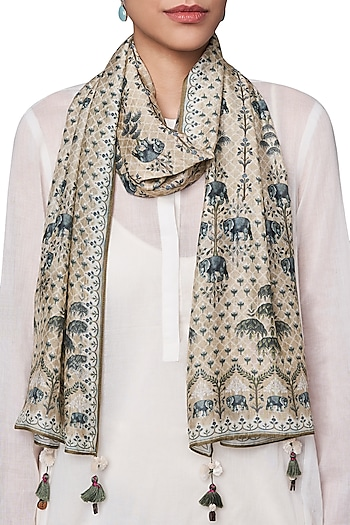 Beige and White Digital Printed Scarf by Anita Dongre