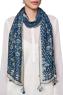 Blue Digital Printed Cotton Scarf by Anita Dongre