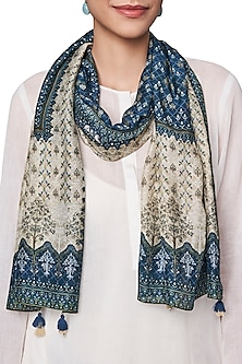 Blue and White Digital Printed Scarf by Anita Dongre