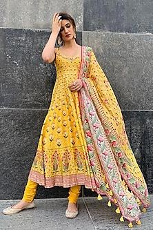 Yellow Floral Anarkali Set by Anita Dongre