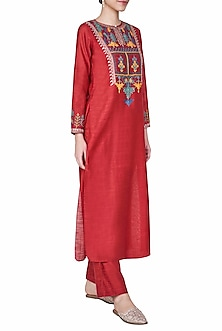 Red Embroidered Kurta with Pants by Anita Dongre