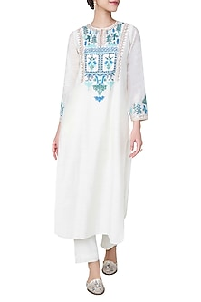 White Embroidered Kurta with Pants by Anita Dongre