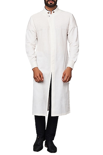 Off White Overlap Concealed Placket Kurta by Anita Dongre