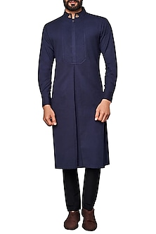 Navy Blue Box Pleated Kurta by Anita Dongre
