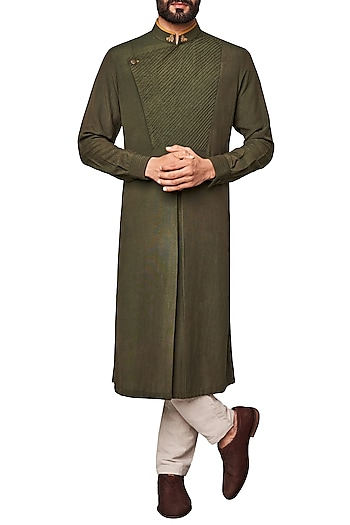 Olive Green Pleated Kurta by Anita Dongre