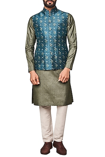 Blue Printed Nehru Jacket by Anita Dongre