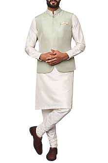 Sage Green Nehru Jacket by Anita Dongre