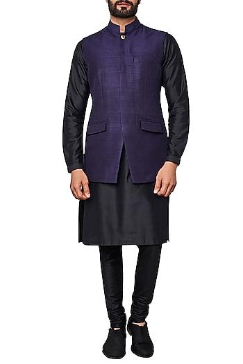 Navy Blue Nehru Jacket by Anita Dongre