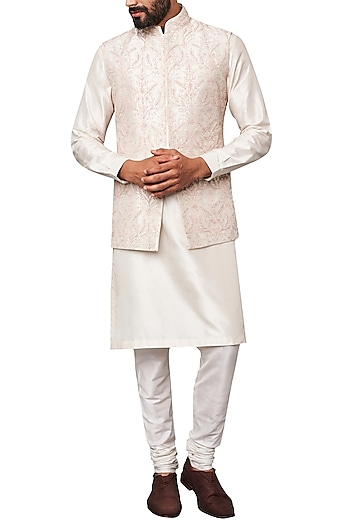 Off White Embroidered Nehru Jacket by Anita Dongre