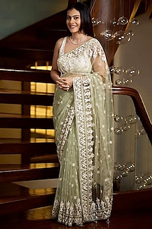 Sage Green & Calming White Embroidered Saree Set by Anita Dongre
