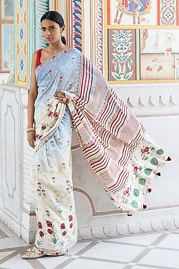 Blue Striped Saree Set by Anita Dongre