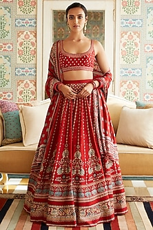 Red Embroidered & Printed Lehenga Set by Anita Dongre