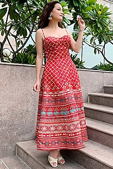 Red Printed Strappy Dress by Anita Dongre