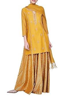 Mustard Embroidered Sharara Set by Anita Dongre
