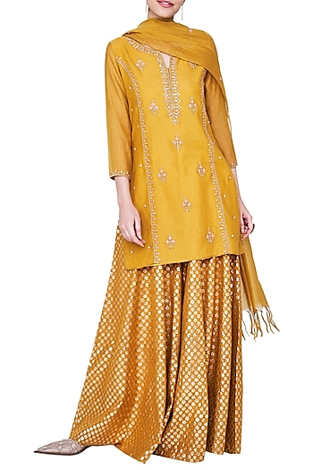 Mustard Embroidered Sharara Set by Anita Dongre