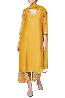 Mustard Embroidered Kurta Set by Anita Dongre