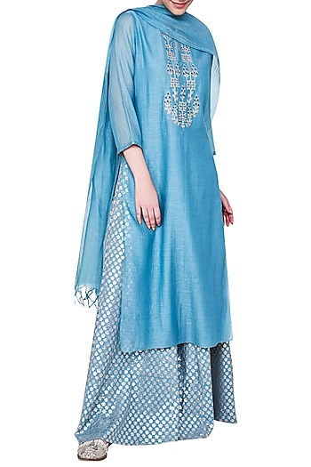Sea Blue Embroidered Kurta Set by Anita Dongre