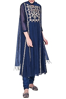 Blue Embroidered Kurta Set by Anita Dongre
