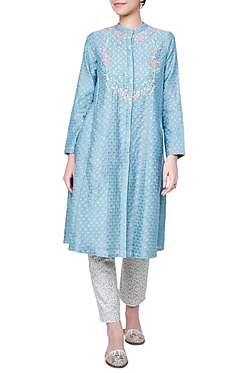Sea Blue Floral Embroidered Kurta with Churidar by Anita Dongre