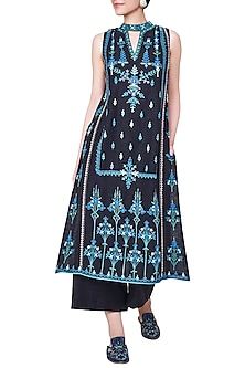Black Gota Patti Embroidered Kurta with Palazzo Pants by Anita Dongre