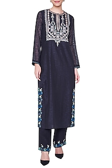 Black Embroidered Full Sleeves Kurta with Palazzo Pants by Anita Dongre