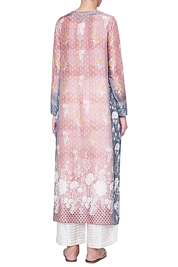 Peach Printed Kurta with Churidar by Anita Dongre