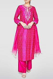 Pink Embroidered & Printed Kurta Set by Anita Dongre