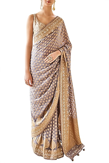 Grey Embroidered Saree with Unstitched Blouse by Anita Dongre