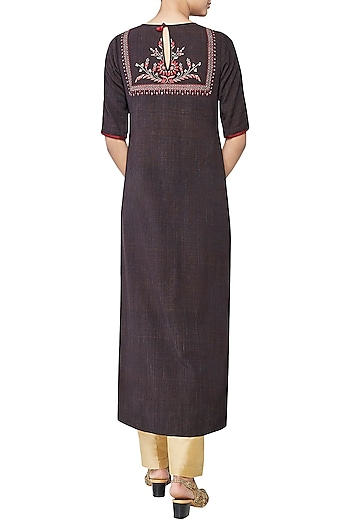 Brown Saachi Embroidered Kurta by Anita Dongre