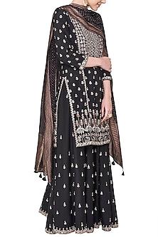 Black embroidered kurta with sharara pants by ANITA DONGRE