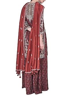 Rust block printed and embroidered kurta with sharara pants by ANITA DONGRE