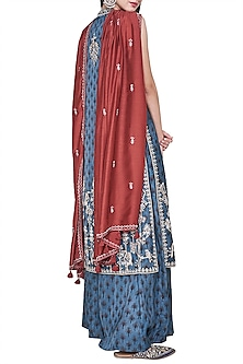 Blue block printed and embroidered kurta with palazzo pants by ANITA DONGRE