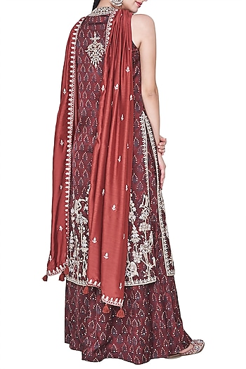 Rust block printed and embroidered kurta with palazzo pants by ANITA DONGRE