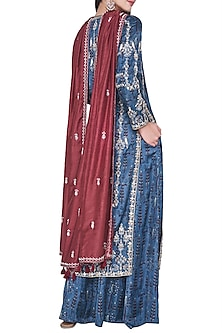 Blue embroidered and block printed kurta with sharara pants by ANITA DONGRE