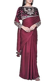 Wine embroidered saree set by ANITA DONGRE