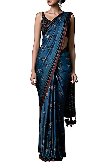 Blue hand block printed saree with blouse piece by ANITA DONGRE